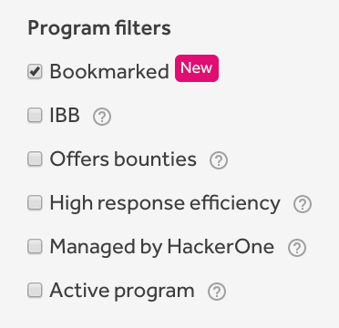 Bookmarked filter on the My Programs tab