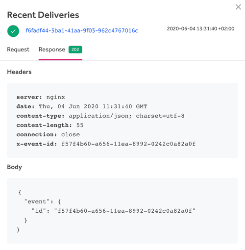 view webhook responses