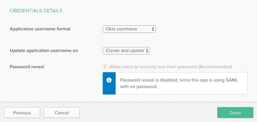 okta credentials details