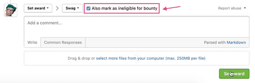 mark as ineligible for bounty checkbox